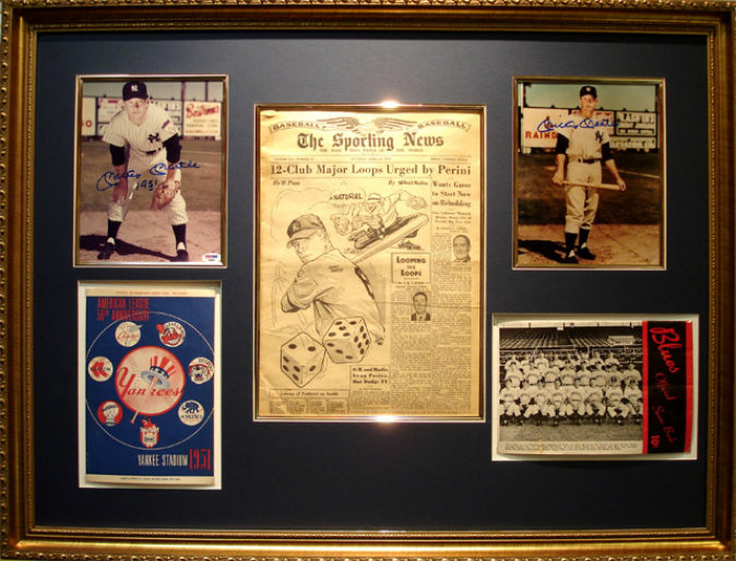 Mickey Mantle 1951 Autographed Display