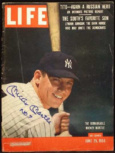 Mickey Mantle 1956 Life Magazine Autographed