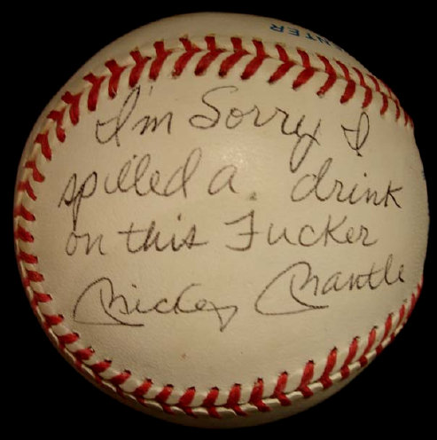 Mickey Mantle Curse Signed Baseball